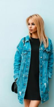 Longue veste en jean